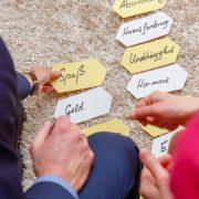 Coachingkarten am Boden, Hände von Klient und Coach, Texte der Karten: Spaß, Geld, Abwechslung, Herausforderung, Unabhängigkeit, Harmonie; es geht vielleicht um: ProfilPASS Coaching , Inneres Leuchten