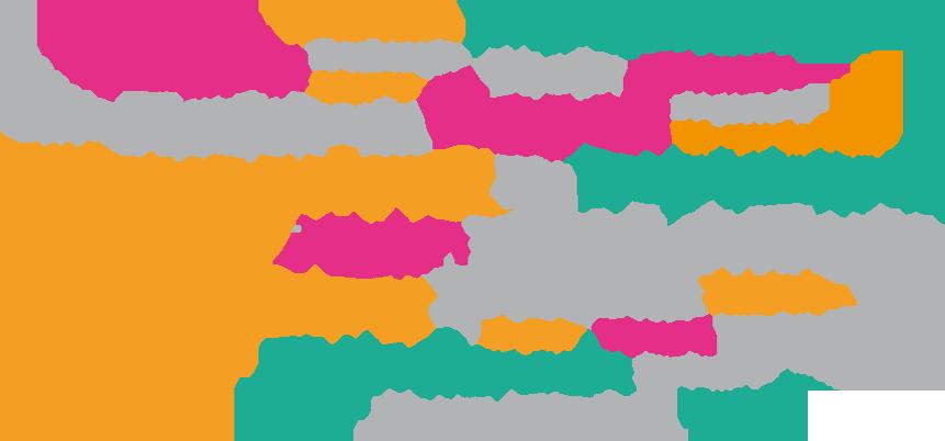 Wortwolke mit Rollen, wie Führungskraft, Coach, Mitarbeiterin, Wissenschaftlerin usw., steht für Frau Gessmanns Philosophie _ Inneres Leuchten